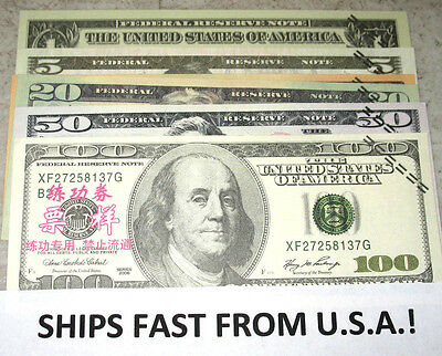 Play Money Set! 60 Pc U.s.a. Training Novelty Notes! Banktells! Ships From Usa!