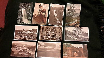 10 x old postcards of Scotland - Balmoral, Linlithgow Palace, Glen Mona waterfal