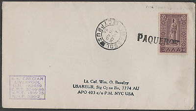 Cyprus 1956 Limasol Paquebot Cover With Greek Stamp To Usa Ss Grecian Liverpool