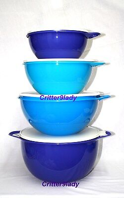 NEW Tupperware Classic Thatsa Nesting Bowl Tower set of 3 Blue and Purple