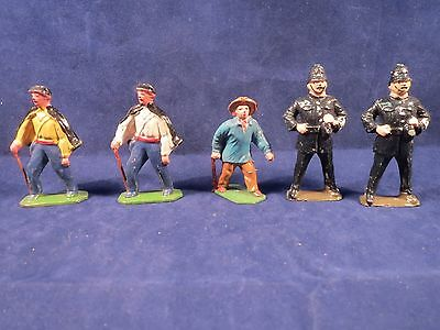 5 vintage lead figures, 2 Johillco / Timpo cops, 3 French Fancy guys with capes