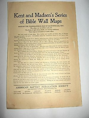 1906 Kent and Madsen Bible Wall Map Topo & Historical Map Chronological Chart