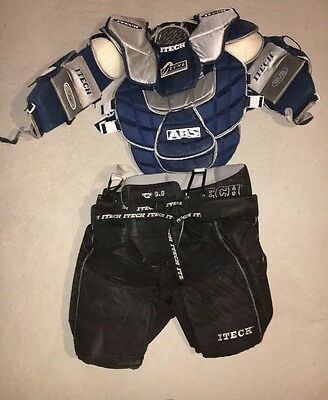ITECH Profile Pro Goalie Chest And Arm Pads, ITECH XL Goalie Pants, Used