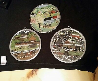 three old antique glass paintings train & horses old collectible glass paintings