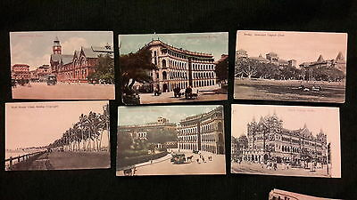 6 x old postcards of Bombay - Govt Telegraph Offices, Victoria Terminus, Crawfor