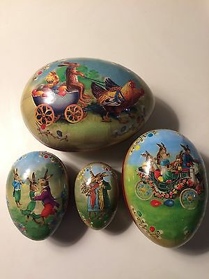 William Sonoma Paper Mache 4 Victorian Nesting Easter Bunny Eggs hand crafted