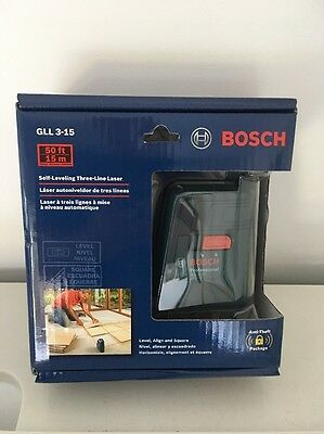 Bosch GLL 3-15 Self Leveling Three Line Laser NEW