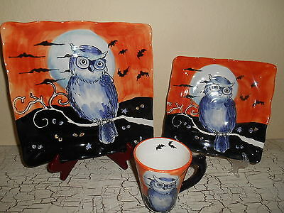 12 MAXCERA Owl Silhouette Orange Dinnerware Square Dinner Plates Mugs Halloween