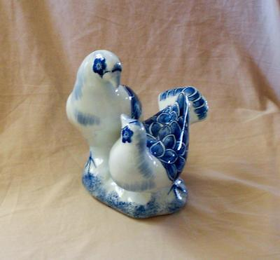 Delft Blue White Doves Birds Porcelain Figurine