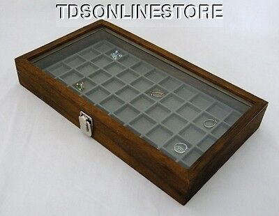 Rustic Antique Brown Color 50 Slot Jewelry Glass Top Display Gray #2