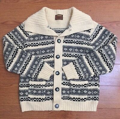 Tundra Vintage Men's 100% Wool Sweater Cardigan L Cream Black Gray Buttons