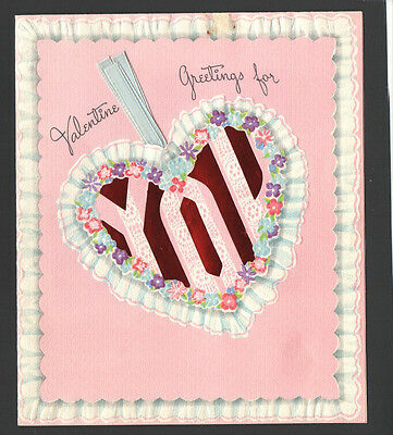 Vintage Valentines Day Card You Flower Heart Ribbons    Scrapbooking Crafts