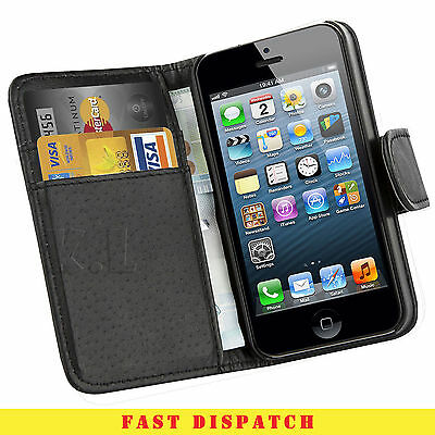 FLIP WALLET BLACK Leather  CASE Cover  for Apple iPhone 4 4S (B012