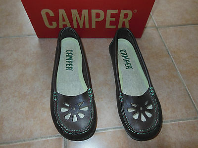 CAMPER  womens leather slip on shoes Sz-39 brown