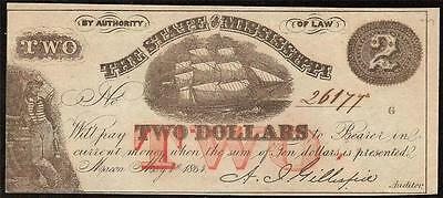 1864 $2 Two Dollar Bill Macon Mississippi Nautical Ship Note Paper Money Au-Unc