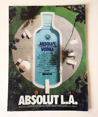 1987 ABSOLUT L.A. Vintage Absolut Vodka Print Ad (Rare/Collectible)