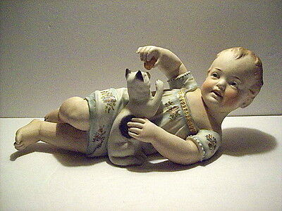 LARGE ANTIQUE BISQUE PORCELAIN PIANO BABY FIGURINE playing with KITTEN / CAT