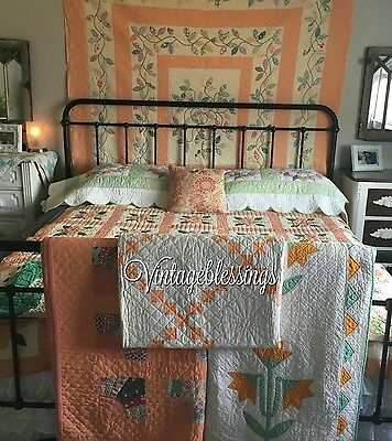 "Lovely! VINTAGE 30-40s PEACH Fans QUILT 82x77"" Cottage Home"