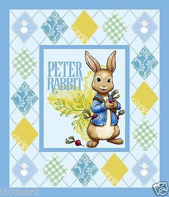 Peter Rabbit Fabric Panel Wallhanging Quilt Top Disney Fabric Btp New Flaw