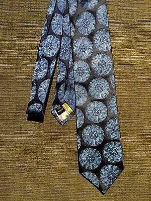 Ted Baker 100% Silk Hand Tailored Neck Tie Blue Circle Floral Pattern EUC