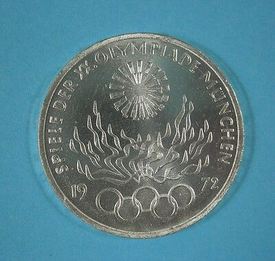 1972-F  GERMANY 10 Mark - MUNICH OLYMPIC FLAME  - Silver - UNC.