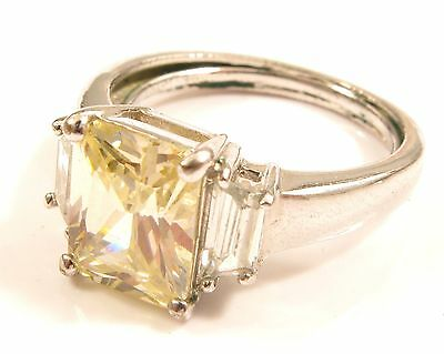 Stunning Emerald Cut Pale Citrine & Clear Stone Silver Cocktail Ring*Sz 9*Y560