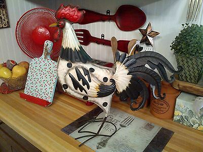 Rooster Chicken Metal Sculpture French Country Figurine Home Decor