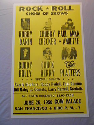 """CHUBBY CHECKER BUDDY HOLLY CHUCK BERRY THE PLATTERS 1956 CONCERT POSTER 14"""" x 22"""