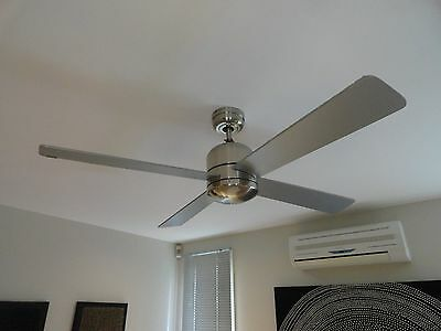2x Brand New Remote Controlled Ceiling Fans Brushed Steel 1220mm