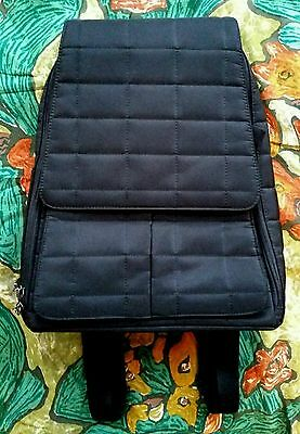Stylish Oioi Designer Black Quilted Backpack Diaper or Baby Bag- Shower Gift