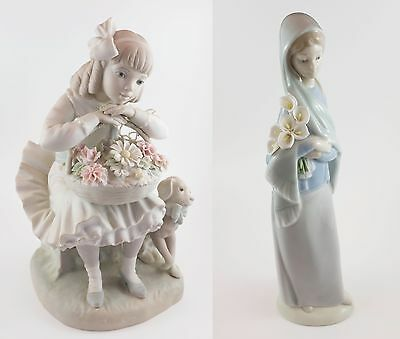 Lladro Sitting Girl with Flowers and Puppy and Girl with Lilies #4650G Figurines