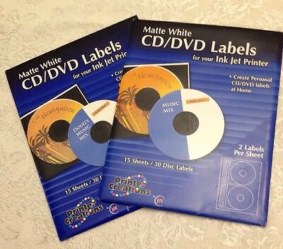 CD DVD Matte White Labels For Ink Jet Printers 30 Count 2 New Sealed Packages