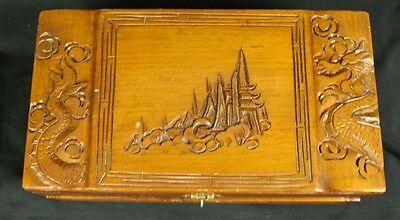 Vintage Wooden Carved Asian Jewelry Box with music box and mirror