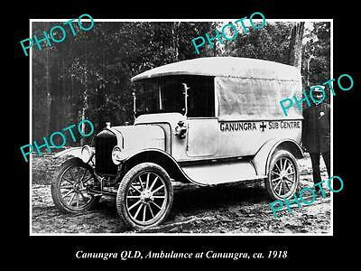 Old Large Historic Photo Of Canungra Queensland, The Town Ambulance Car 1918