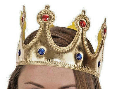 Crown King or Queen Jeweled Gold Fabric Adult or Child NEW