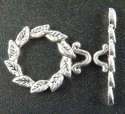 10sets Tibetan Silver Leaves Toggle Clasps 19.5x15mm 8807