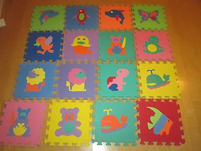 """Kids Puzzle Animal, Numbers, interlock Play Mat, 12"""" by 12"""""""