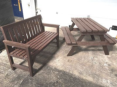 Garden Seat & Picnic Table Set In Brown  100% Recycled Plastic