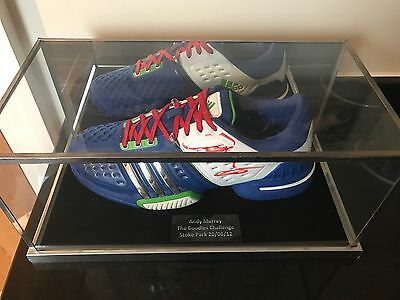 Adidas Tennis Shoe Signed By Andy Murray & Glass Display Case