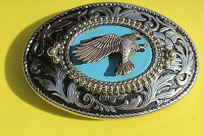 Hawk with turquoise?   tone or enamel?  Silver 3D  Belt Buckle