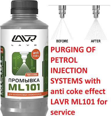 PURGING OF PETROL INJECTION SYSTEMS with anti coke effect LAVR ML101 for service