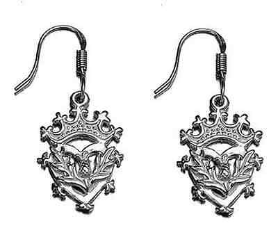 LOOK Celtic Scottish Thistle Sterling silver Earrings Crown Jewelry