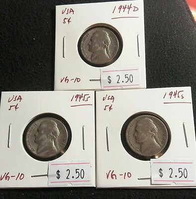 USA 1944D,45S,45S Jefferson War Time Silver Nickels  Nice Silver Coins Lot#372