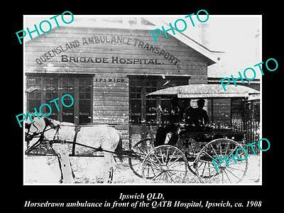 Old Large Historic Photo Of Ipswich Qld, The Queensland Ambulance Station 1908