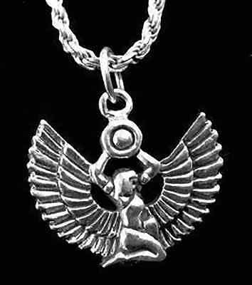LOOK Egyptian Egypt Jewelry WINGED Goddess Queen ISIS Fine Sterling Silver .925