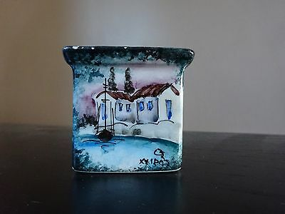 **2 x HAND PAINTED GREEK SQUARE POTS**