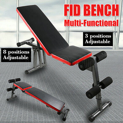 Adjustable Weight FID Bench Flat Incline Decline Press Exercise Fitness Home Gym