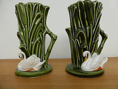 2 Sylvac Vases, green with swan design