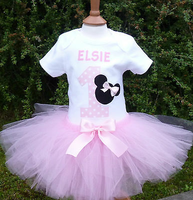 Personalized 1st First Birthday girl minnie mouse tutu, Birthday cake smash tutu