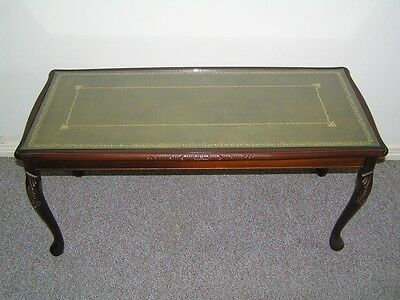 QUEEN ANNE STYLE COFFEE TABLE, olive green / gold inlay
